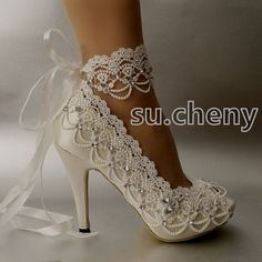 "Salto 3"" 4"" Branco Marfim Renda fita cetim aberto Toe Sapatos De Casamento Noiva Tamanho 5-9.5"