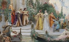 The Arrival of the Guests, Venice ~  Georges Jules Victor Clairin (1843 - 1919) - The Arrival of the Guests, lake, golden, painting, pink, flower, boat, dress, Georges Jules Victor Clairin, orange, woman, french artist, lady, blue, water, man, yellow, beauty, purple, Venice, girl, green, art, people
