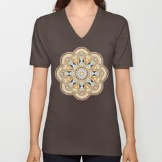 Geometric shapes and patterns in an elegant golden kaleidoscope. This decorative design is in the colors gold / yellow, brown, turquoise, purple and pink. (kaleidoscope...