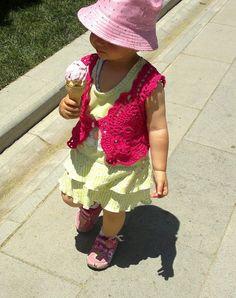 Crochet pink  ''Almonds Bolero''  for baby by KnitterPrincess, $24.00