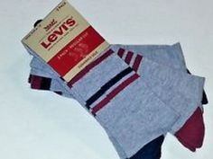Levi's Men's Gray Red Blue Stripes Cushioned Sole Socks 3 Pack Shoe Size 6-12  #Levis #Casual