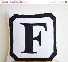 SALE Personalized Monogram throw pillow- Linen pillows- Monogram cushion -Initial pillows- Letter Pillow- Alphabet pillow- 12x12- Gift
