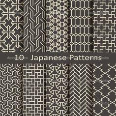 набор из десяти японских моделей - Стоковая иллюстрация: 53706945