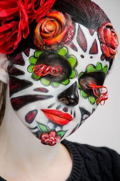 Daryala Nuzhnova Day of the dead makeup #skull #catrina #halloween