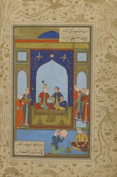 Iran - Folio from a <i>Yusuf u Zulaykha</i> by Jami (d. 1492); verso: Potiphar and Zulaykha enthroned; recto: text