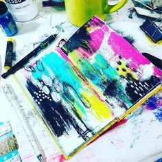 """74 Likes, 4 Comments - Tiffany Goff Smith (@southerngals_designs) on Instagram: """"Slapping some paint down this morning. What's your Saturday look like? #artfullife #artjournaling…"""""""