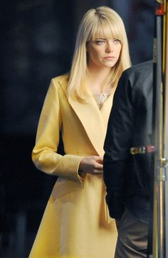 Actress Emma Stone pictured on the sets of 'The Amazing Spider-Man 2' doing a break-up scene in New York.  (March 1, 2013)