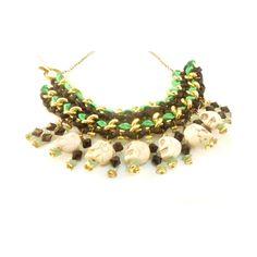be hippie, my friend ;) collar negro verde con cuentas calaveras