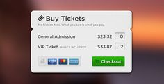Nice Buy tickets popup PSD. This PSD freebie contains a modal popup window for buying tickets. It includes credit card icons too. Designed by Ramy Majouji.  #buy #Card #checkout #creditcards #green #grey #Payment #popup #price #shop #shopping #Ticket Check more at http://psdfinder.com/free-psd/buy-tickets-popup-psd