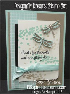 Using Stampin' Up!'s Dragonfly Dreams available in the new Occasions 2017 catalog!  Created by Connie Babbert, www.inkspiredtreasures.com to order supplies.  #stampinup, #dragonflies, #inkspiredtreasures