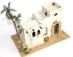 10082-Casa mora con palmera Diy Christmas Village, Christmas Diy, Belem, Military Diorama, Nativity, Diy And Crafts, Projects To Try, Homemade, Bird