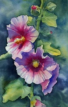 Pink Hollyhock' Poster by Ann Mortimer Watercolour cm Artists watercolours on cold pressed paper. / This was taken from a photo of a hollyhock which I took in our garden last summer. Loved the cast shadow on the lower flower and the deep pink centre. Painting & Drawing, Watercolour Painting, Watercolor Flowers, Watercolors, Hollyhocks Flowers, Art Aquarelle, Arte Floral, Botanical Art, Painting Inspiration