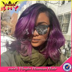 Glueless Full Lace wigs Human Hair bob Wigs For Black Women Brazilian ombre Lace Front Wig With Baby Hair short purple Hair Wigs Weave Hairstyles, Pretty Hairstyles, Straight Hairstyles, Love Hair, Gorgeous Hair, Curly Hair Styles, Natural Hair Styles, My Hairstyle, Unicorn Hairstyle