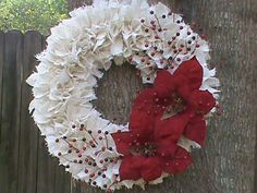 """Burlap Wreath  """"Christmas Blooms"""" / White with Large Red Poinsettias and Mixed Berries / 22 inch"""