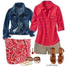 Love the pop of color with the khaki and denim; cute Vera Bradley bag too.