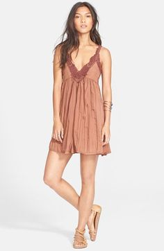 Free People 'Breathless' Lace Trim Minidress in Slate (blue) available at #Nordstrom