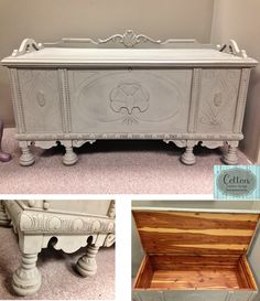 SOLD ~ Cedar Chest painted with Annie Sloan Chalk Paint in French Linen, distressed, and finished with Clear Wax. Painted Furniture For Sale, Painting Furniture, Furniture Makeover, Furniture Ideas, Cedar Chest Redo, Annie Sloan Furniture, Trunks And Chests, Blanket Chest, Trash To Treasure