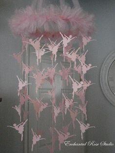 Pink Ballerina Mobile Paper Chandelier Large. Etsy.