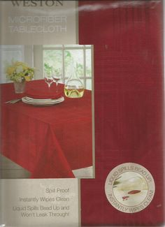 """Weston Ruby Red Microfiber Spillproof Tablecloth Oblong 52"""" x 70"""" by Arlee Home #ArleeHomeFashions"""