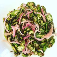 It was everything I needed. Crispy okra salAd with fresh herbs and pickled onions. #growyourown #gardening #eatclean #salad #okra #pickled #foodie #food