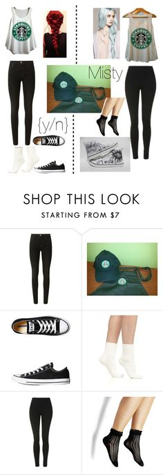 """Starbucks uniform"" by horans-girlfriend ❤ liked on Polyvore featuring J Brand, Converse, Falke, Topshop and Steve Madden"