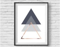 Faux Rose Gold Print Faux Copper Wall Art Geometric by PrintAvenue