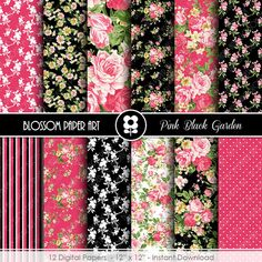 Digital Paper Black & Pink Digital Paper by blossompaperart