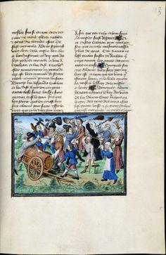 Gevecht van de Ondeugden Henri van Ferrières, Livres du roy Modus et de la royne Ratio De Meester van de Girart de Roussillon (Dreux Jehan), Brussel, ca. 1430 en ca. 1450. Brussel, KBR, ms. 10218-19, f. 163r
