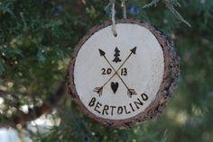 Wood Burned Christmas Ornament  Custom Name  2013  by postscripts, $9.99