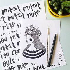 Um dos estudos de ilustra e as minhas tentativas de lettering (hahaha) que usei para compor o cartaz da @aflorigrafia em parceria com a @intimusoficial ♡ Quem já viu? Ele é uma releitura do cartaz da @sou___maria (: ♡