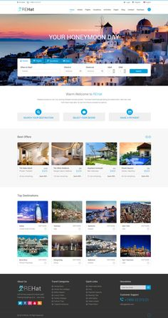 hotel website REHat - Responsive Template for Travel System by Abd.Hakeem IbnFaisal, via Behance Travel Website Design, Website Design Layout, Web Layout, Travel Design, Layout Design, Web Design Examples, Creative Web Design, Website Design Inspiration, Travel And Tourism