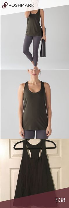 [lululemon] Olive Love Tank Beautiful. Excellent condition. Gorgeous Dar olive color. No rip or dog tag. Size 6 lululemon athletica Tops