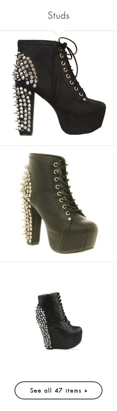 """""""Studs"""" by galacticpeanut ❤ liked on Polyvore featuring shoes, boots, ankle booties, heels, sapatos, jeffrey campbell, women, leather booties, black leather boots and distressed leather booties"""