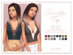 "smubuh: "" ♡Camilla Top♡ I haven't made a top in so long so here is a cute little crop top with lace! Used the breakfast palette and each color swatch has white lace and colored lace. I am so thankful..."
