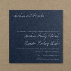 Blue and White Wedding Ideas - Classic Beauty - Imperial Invitation - Navy Shimmer | Occasions In Print, LLC (Invitation Link - http://occasionsinprint.carlsoncraft.com/Wedding/Wedding-Invitations/3214-MM1332732368-Classic-Beauty--Imperial-Invitation--Navy-Shimmer.pro)