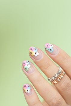197 Best Flower Nail Art Design Images Pretty Nails Colorful