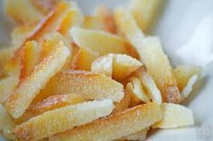 Candied orange peel for marmalade