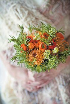 Rosemary bouquet with orange flowers #weddings