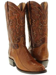Men's cognac brown genuine exotic ostrich leg skin cowboy boots western rodeo.