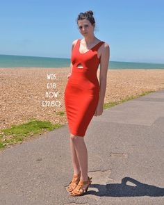 SALE Eva Bodycon Scoop Back Dress with Cut Out in Red by Stylecamp