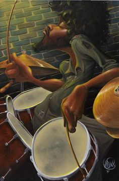 Breakbeat Fever by David Garibaldi is a limited edition work of art depicting a black man playing on a set of drums. Frank Morrison, Black Art Painting, Black Artwork, African American Art, African Art, David Garibaldi, Jazz Art, Black Love Art, Black Man