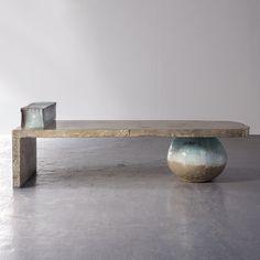 "Hun-Chung Lee, South Korea, 2011  ""Concrete Day Bed with ceramic Pillow and Jar,"" concrete and glazed ceramic.    77.17"" L x 31.5"" W x 25.2"" H  /  196.01cm L x 80.01cm W x 64.01cm H"