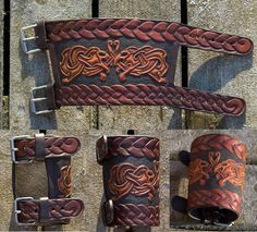 Leather Bracer Oseberg by Wodenswolf on DeviantArt Leather Bracers, Leather Cuffs, Leather Tooling, Tan Leather, Leather Accessories, Leather Jewelry, Sculpture Sur Cuir, Conception En Cuir, Shoulder Armor Tattoo