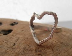 Heart Twig Ring in Sterling Silver - PrometheanDesign