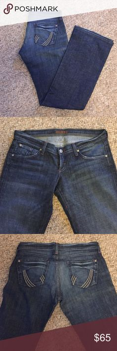 James Jeans James jeans in dark denim wash with silver embroidery on back pockets. Worn only once. James Jeans Jeans