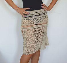 Midi skirt summer crochet skirt beige cotton boho skirts girl sexy beach cover up lace skirts summer trends knitted a line skirt crocheted  This