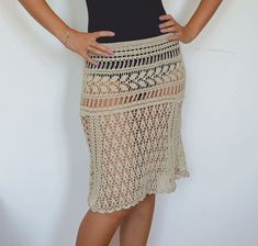 Midi skirt summer crochet skirt beige cotton boho skirts girl sexy beach cover up lace skirts summer trends knitted a line skirt crocheted  This