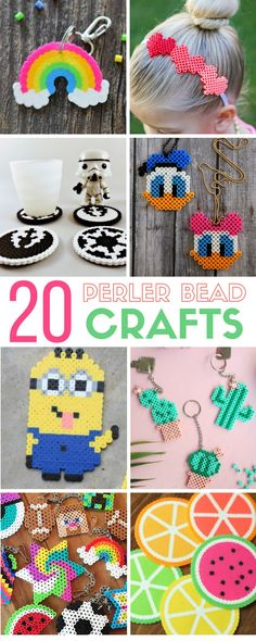 20 Perler Crafts for kids and adults! With summer coming soon, this would be a fun activity to cure that summer boredom! #perlerbeadcrafts #crafts #kidscrafts #freepattersn #perlerbeads #easydiy #tutorial #summercrafts #summeractivities #diykeychains