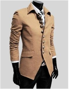 Men's Single Breasted Military Style Jacket