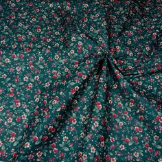Vintage Polished Cotton Fabric, Calico in Hunter Green, Red & White, BTHY